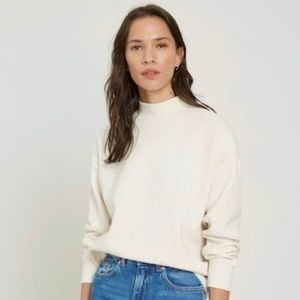 OAK + FORT Soft Rayon Cream Mock Neck Sweater   Medium